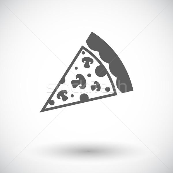 Pizza Ikon Beyaz Restoran Peynir Boyama Vektör