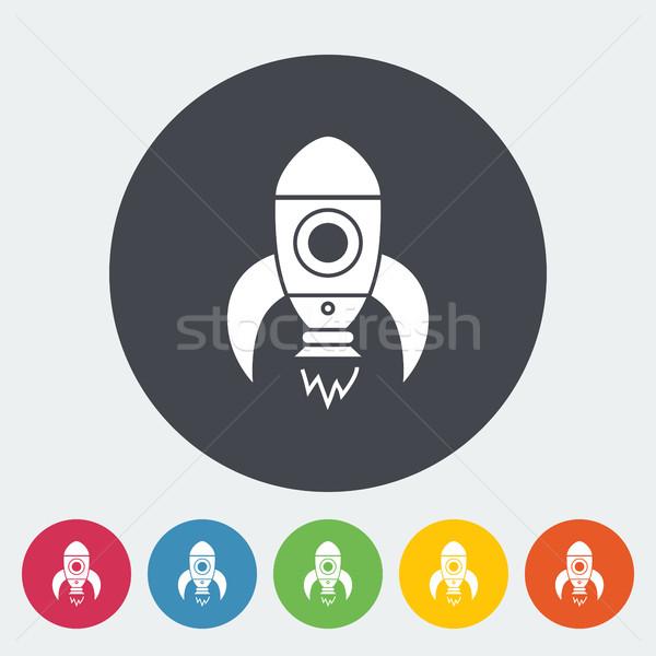 Raket dun lijn vector icon web Stockfoto © smoki