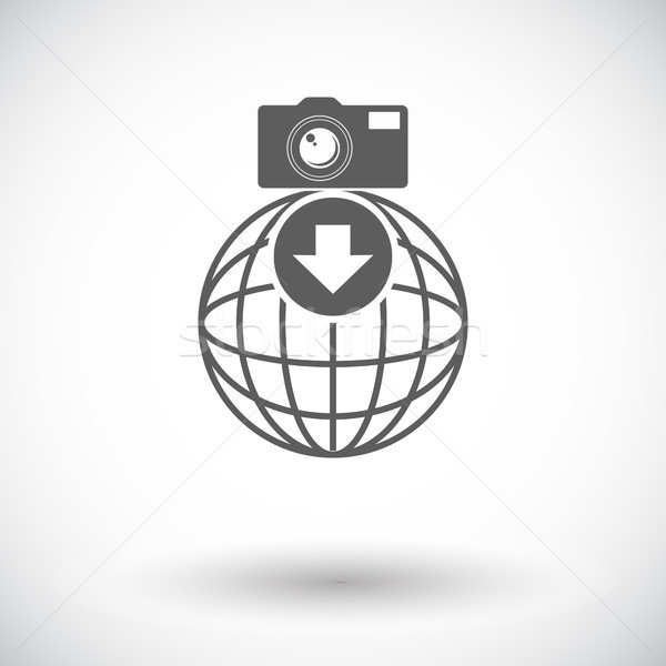 Foto downloaden icon witte internet wereldbol Stockfoto © smoki