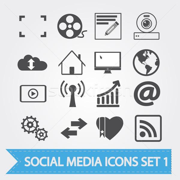 Közösségi média ikonok vektor terv alkalmazás szív Stock fotó © smoki