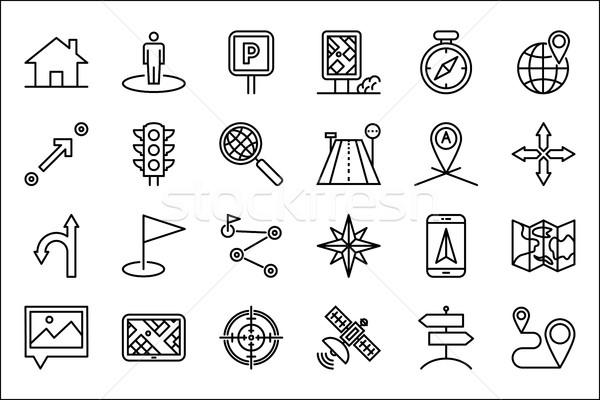 Navigation icon set Stock photo © smoki
