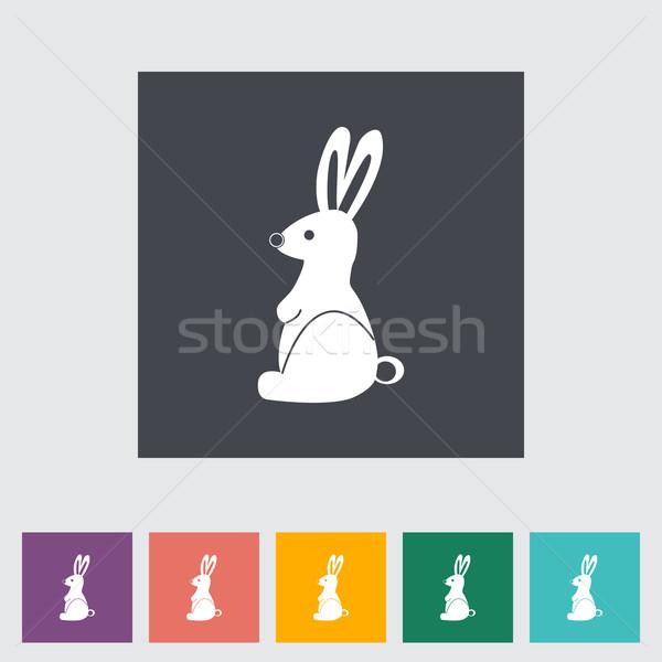 Rabbit single flat icon. Stock photo © smoki