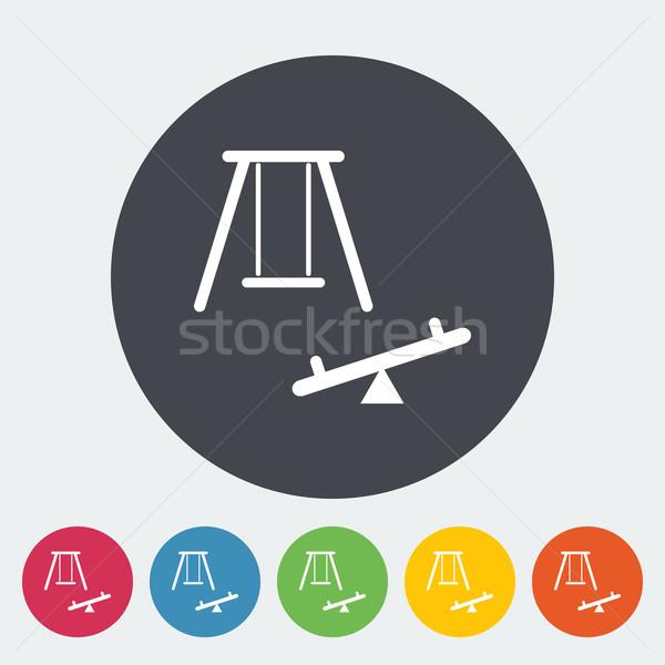 Huśtawka ikona przycisk dziewczyna sztuki zabawy Zdjęcia stock © smoki