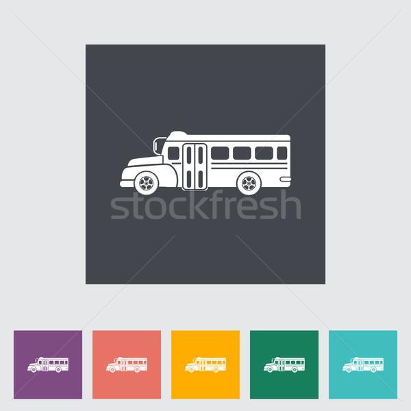 Iskolabusz ikon iskola művészet oktatás zöld Stock fotó © smoki