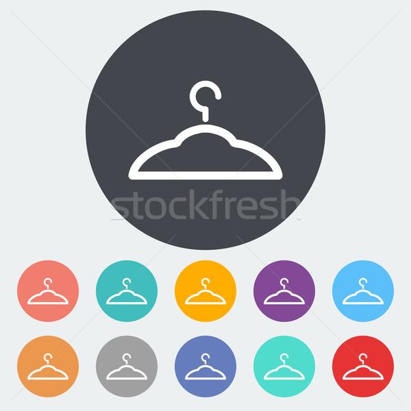 Hanger icon cirkel metaal silhouet kleding Stockfoto © smoki