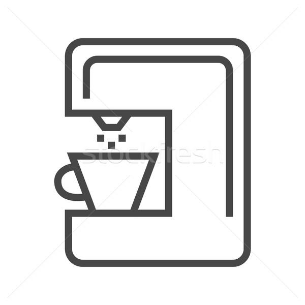 Koffiezetapparaat lijn icon dun vector geïsoleerd Stockfoto © smoki