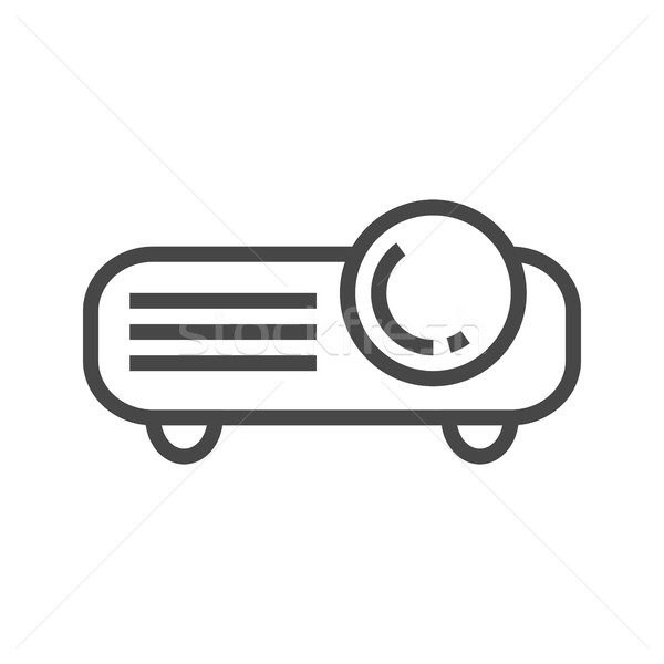 Video projector lijn icon dun vector Stockfoto © smoki