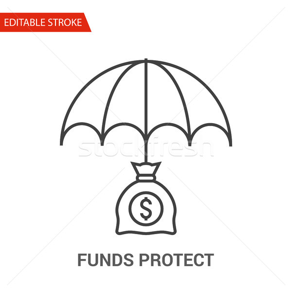 Funds Protect Icon. Thin Line Vector Illustration Stock photo © smoki