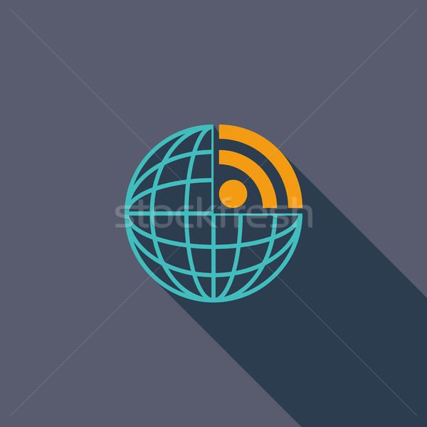 Rss icon vector lang schaduw web Stockfoto © smoki