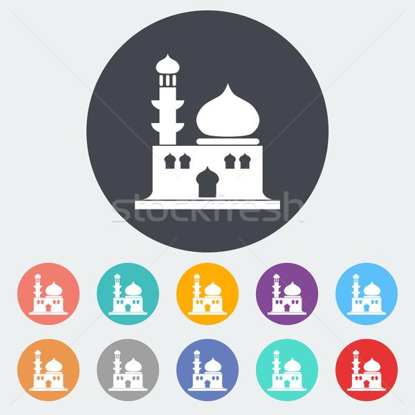 Mezquita icono círculo edificio construcción silueta Foto stock © smoki