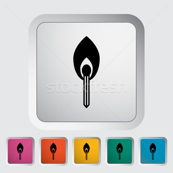 Meczu ikona przycisk ognia streszczenie Świeca Zdjęcia stock © smoki