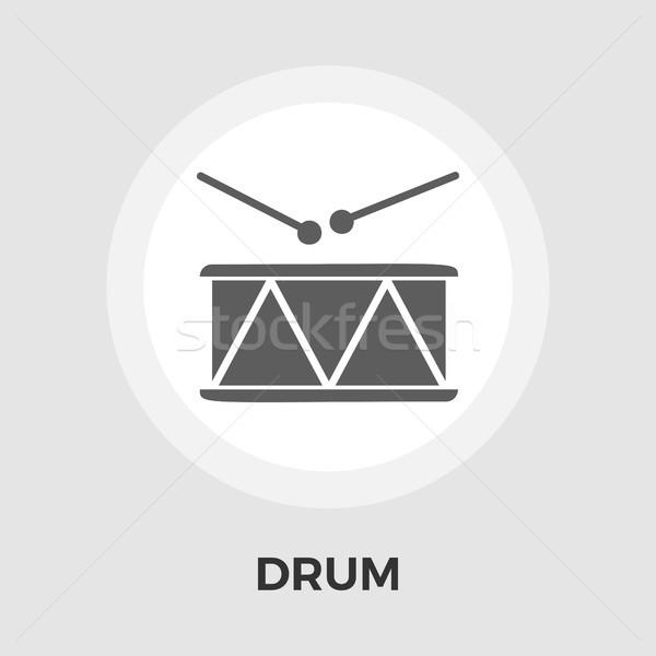 ストックフォト: ドラム · ベクトル · アイコン · 孤立した · 白