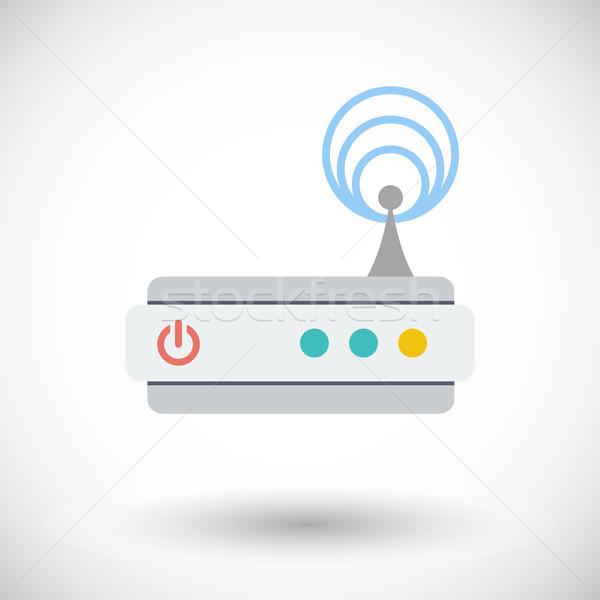 Router ikona biały technologii sztuki sieci Zdjęcia stock © smoki