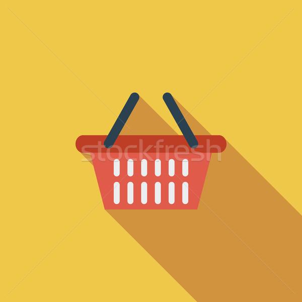 Bevásárlókosár ikon vektor hosszú árnyék háló Stock fotó © smoki
