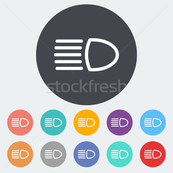 Fényszóró ikon kör fény felirat gomb Stock fotó © smoki