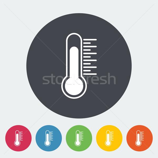 Termometro icona cerchio medici segno rosso Foto d'archivio © smoki