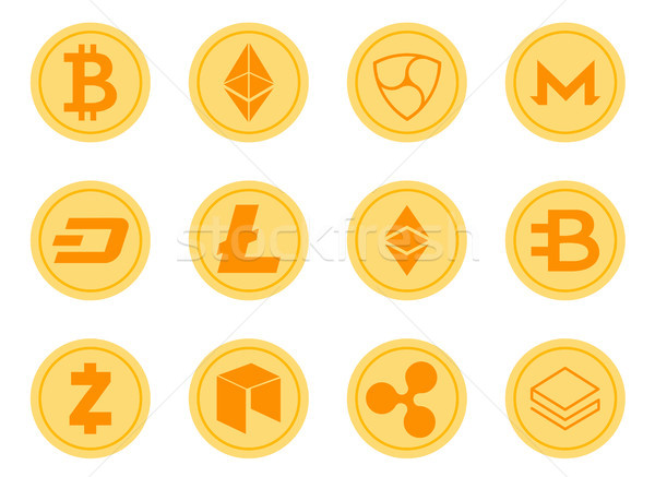 Crypto Coins Icons Set. Stock photo © smoki