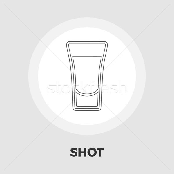 Shot pić ikona wektora odizolowany biały Zdjęcia stock © smoki