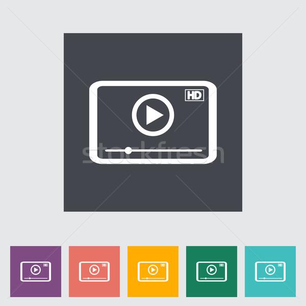 Video player flat icon. Stock photo © smoki