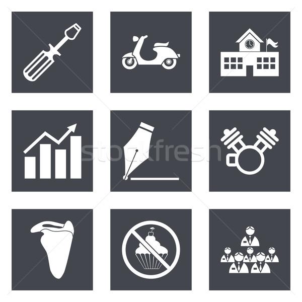 Iconos diseno web establecer 12 móviles aplicaciones Foto stock © smoki