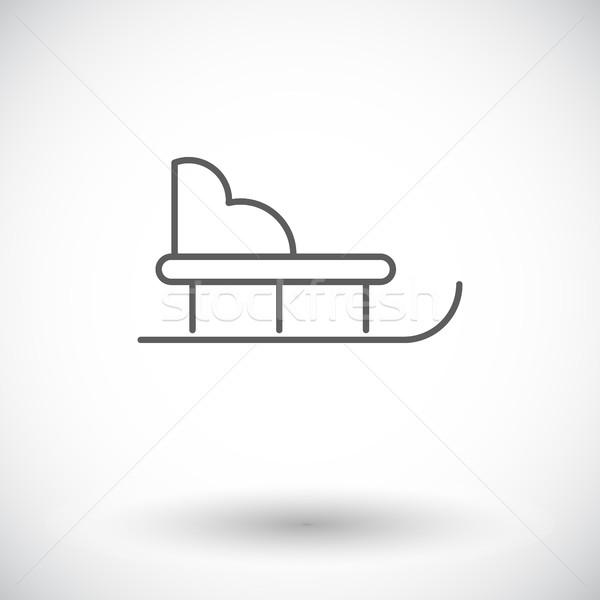 Szánkó ikon vékony vonal vektor háló Stock fotó © smoki