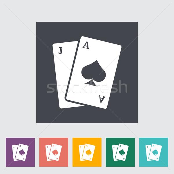 Blackjack ícone botão coração cassino pôquer Foto stock © smoki