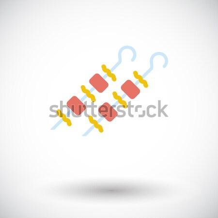 Kebab ikon vektor izolált fehér szerkeszthető Stock fotó © smoki