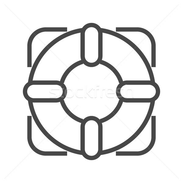 Stock photo: Lifebuoy Thin Line Vector Icon.