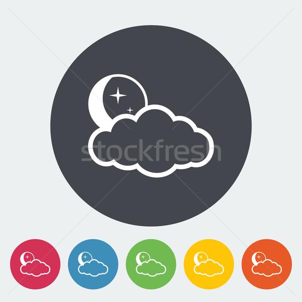 Hava Durumu Ikon Ay Yildiz Bulutlar Daire Vektor