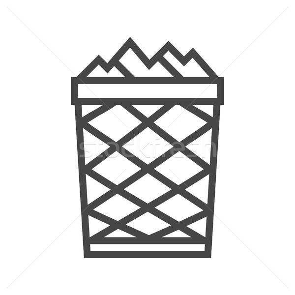 мусорное ведро линия икона тонкий вектора изолированный Сток-фото © smoki