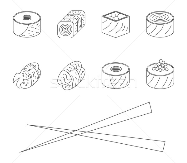 Stock photo: Sushi set.
