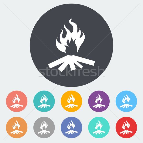 Máglya ikon kör tűz természet terv Stock fotó © smoki