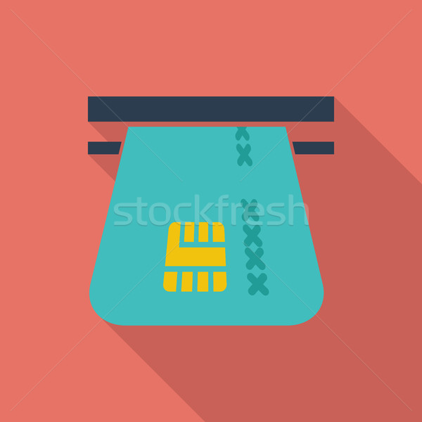 Kredi kartı ikon vektör uzun gölge web Stok fotoğraf © smoki