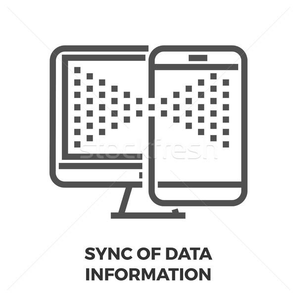 Sync of Data Infomation Line Icon Stock photo © smoki