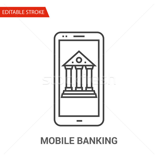 Mobile Banking Icon. Thin Line Vector Illustration Stock photo © smoki