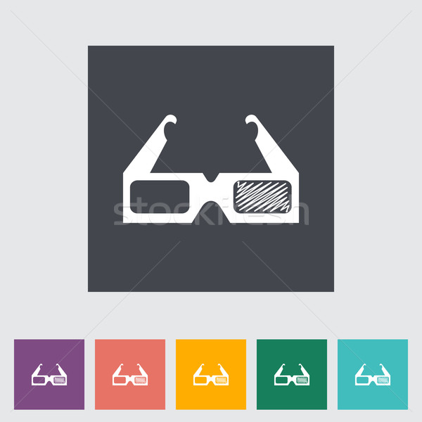 3D glasses single flat icon. Stock photo © smoki