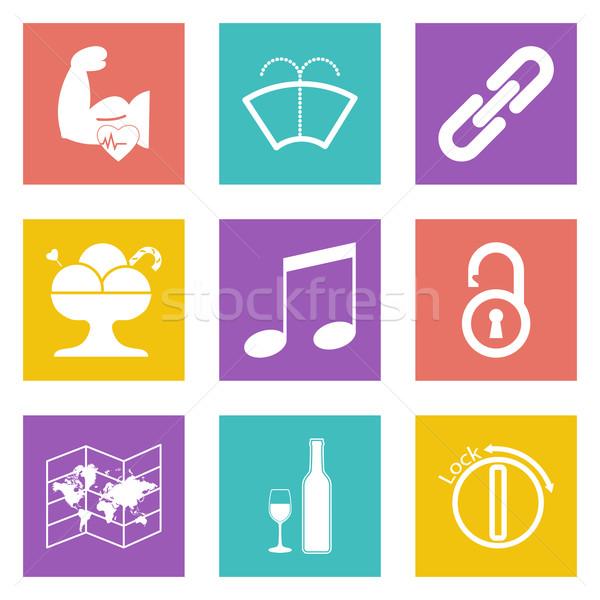 цвета иконки веб-дизайна набор мобильных применения Сток-фото © smoki