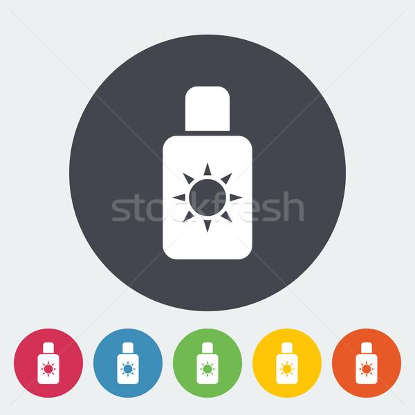 Protetor solar ícone círculo praia arte laranja Foto stock © smoki