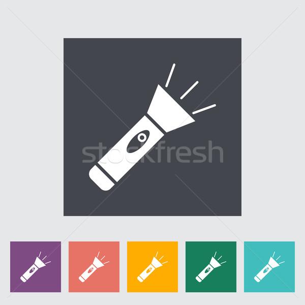 Lampe de poche icône bouton lumière art peinture Photo stock © smoki