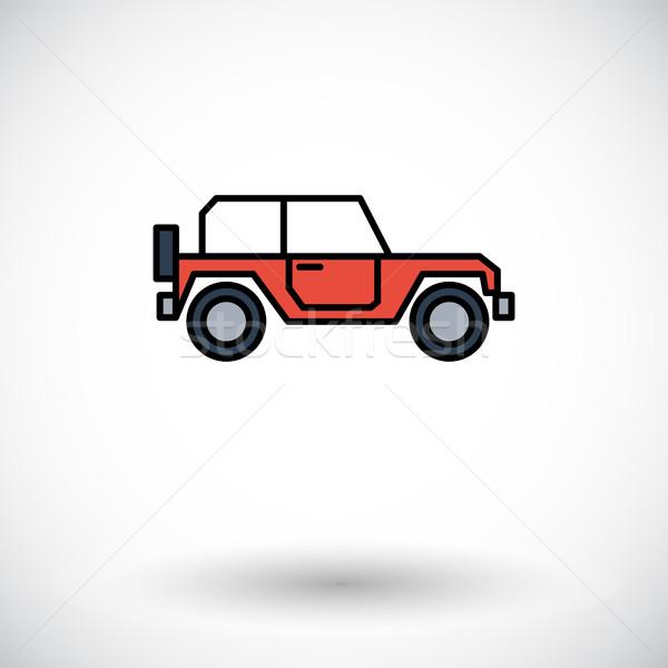 Samochodu ikona biały internetowych komórkowych aplikacje Zdjęcia stock © smoki