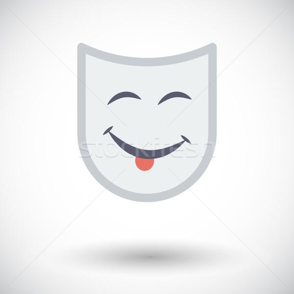 Színpadi maszk ikon fehér zöld jókedv Stock fotó © smoki