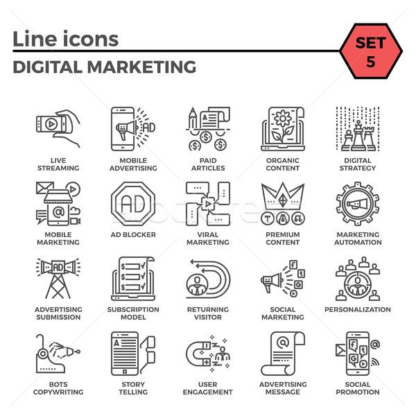 Digital marketing icon set Stock photo © smoki