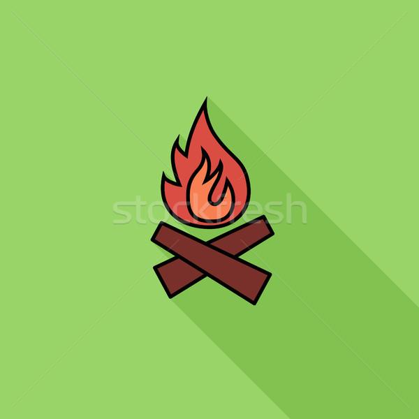 şenlik ateşi ikon vektör uzun gölge web Stok fotoğraf © smoki