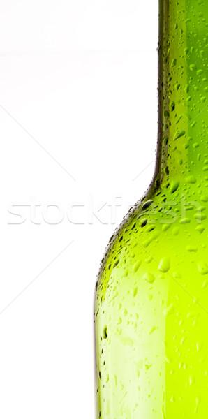 Wijnfles fles witte wijn geïsoleerd witte groene Stockfoto © smoki