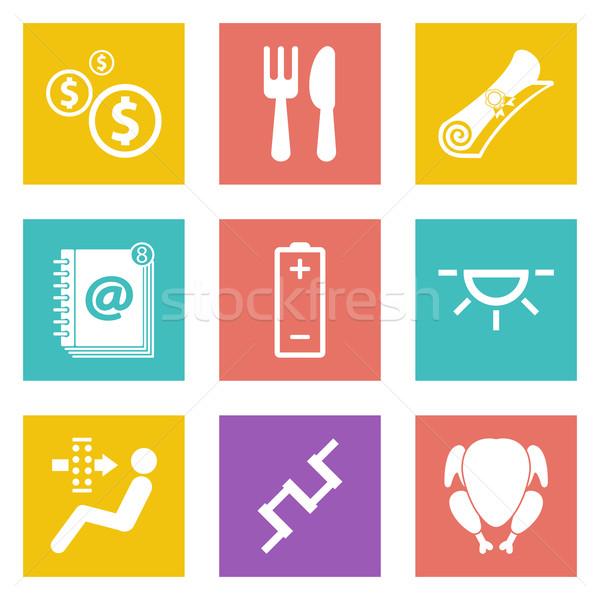 Icônes web design 16 couleur mobiles Photo stock © smoki
