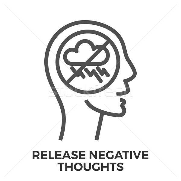 Negatywne myśli cienki line wektora Zdjęcia stock © smoki