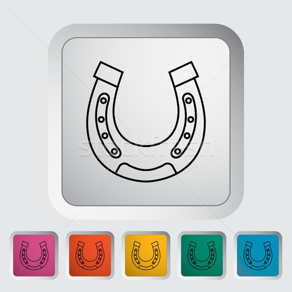 Icon knop computer paard metaal boerderij Stockfoto © smoki