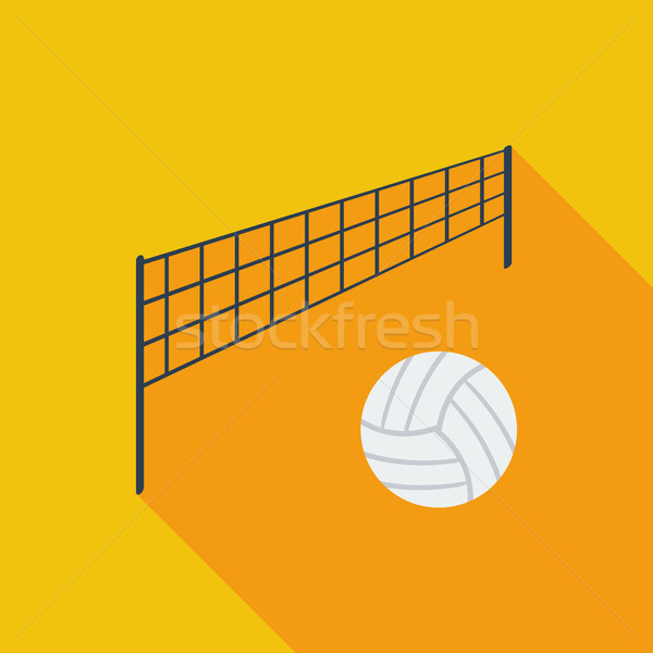 Voleibol ícone vetor longo sombra teia Foto stock © smoki