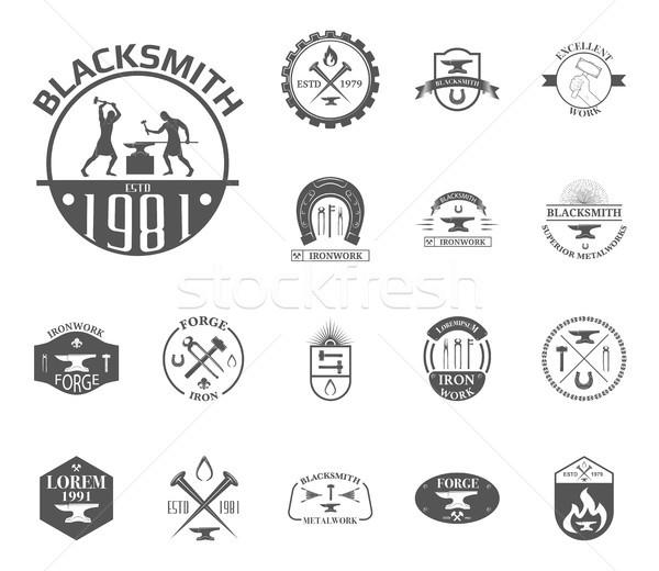 Vintage blacksmith labels Stock photo © smoki