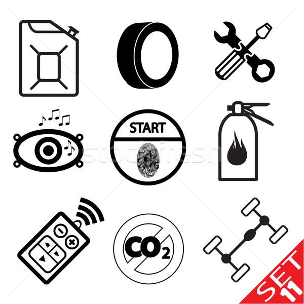 Stock fotó: Autó · ikon · gyűjtemény · terv · felirat · kulcs · festmény